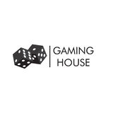 The emblem or logo of the casino, gambling house with the image of black playing dice. Stock Photos
