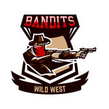 Emblem, logo, cowboy shooting from two revolvers. Wild west, a thug, Texas, a robber, a sheriff, a criminal, a shield Royalty Free Stock Photos
