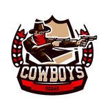 Emblem, logo, cowboy shooting from two revolvers. Wild west, a thug, Texas, a robber, a sheriff, a criminal, a shield Royalty Free Stock Image