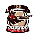 Emblem, logo, cowboy shooting from two revolvers. Wild west, a thug, Texas, a robber, a sheriff, a criminal, a shield Stock Photos