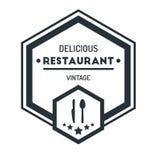 Emblem Logo Design Template Vector Symbol för sexhörningstappningHipster stock illustrationer