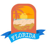 Emblem logo for vacation in Florida with sea and waves. Palm silhouette in orange colours. stock illustration