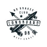 Emblem of longboard club Royalty Free Stock Image