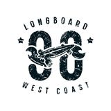 Emblem of longboard club in retro style Stock Photography