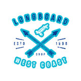 Emblem of longboard shop. Graphic design for t-shirt and stickers. Color print on white background Royalty Free Stock Images
