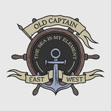 The emblem on the marine theme stock illustration