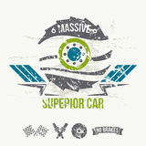 Emblem of the massive superior car in retro style Stock Photos