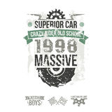 Emblem of the massive superior car in retro style Royalty Free Stock Photography