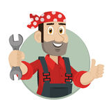 Emblem mechanic holds wrench in circle Royalty Free Stock Photography