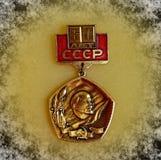 Emblem med bilden av Vladimir Lenin Ulyanov från serien 'Vladimir Lenin ', closeup Faleristics royaltyfria foton