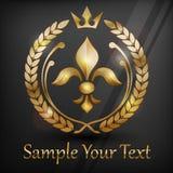 Emblem med den guld- liljan vektor illustrationer