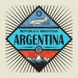 Emblem med flygplanet, kompasset, berg och text Argentina vektor illustrationer