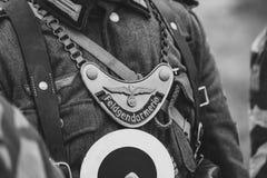Emblem med inskriften - den militära polisen tyska soldater fotografering för bildbyråer