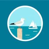 Emblem med seagullen och skeppet Royaltyfri Bild