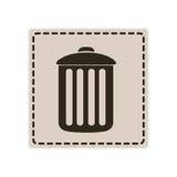 emblem metal trash can icon Stock Photo