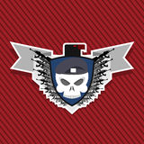 Emblem Military . Skull beret with weapons. Royalty Free Stock Image