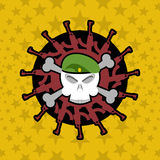 Emblem Military . Skull beret with weapons. Royalty Free Stock Photo