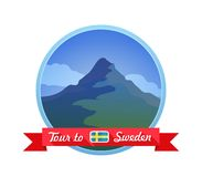 Emblem mit Bergen Stockbilder