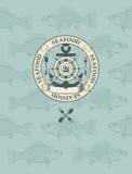 Emblem mit dem Segelboot, dem Rad und dem Anker Lizenzfreies Stockbild