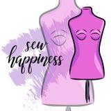 Emblem mit Mannequin oder Attrappe und Fahne mit Beschriftung herstellend, nähen Sie Glück Mode und Herstellen des Logodesigns Ve Stock Abbildung