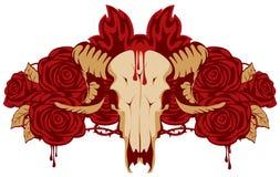 Emblem mit Schädelschafen und stieg Lizenzfreie Stockfotografie