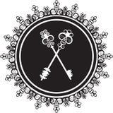 Emblem mit Schlüsseln Stockfoto