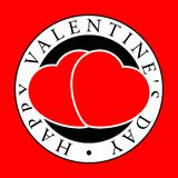 Emblem mit zwei rotes Herzen Stockfoto