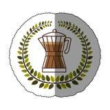Emblem moka pot coffee icon Stock Photo