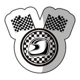 Emblem monochrome sticker with racing helmet and flags and half shadow Stock Photos
