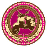Emblem with moped. Illustrated retro emblem with moped Stock Photo