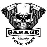 Motorcycle engine with skull. Emblem of motorcycle engine with skull. Text is on the separate group vector illustration