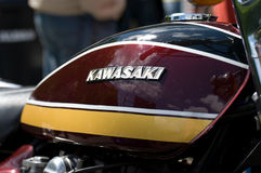 The emblem of the motorcycle gas-tank Kawasaki Stock Photo