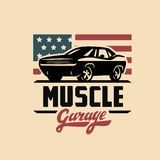 Emblem muscle car. Silhouette vector on flag background Stock Photography