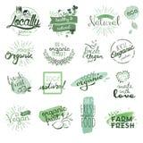 Emblem och beståndsdelar för organisk mat Royaltyfria Bilder