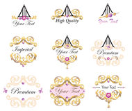 Emblem och etikettbeståndsdeluppsättning Royaltyfria Foton