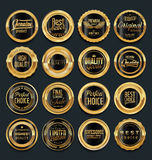 Emblem och etiketter Sale för retro tappning guld- Arkivfoto
