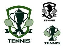 Emblem och logo för tennisturnering stock illustrationer