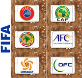 Emblem och logoer för förbund för Fifa-fotboll (fotboll) royaltyfri illustrationer