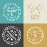 Emblem och logoer för grafisk formgivare för vektor i moderiktig linjär stil vektor illustrationer