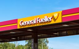 The emblem of the oil company General Fueller on the gas station Stock Photo