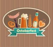 The emblem of the Oktoberfest beer festival. Octoberfest vector Illustration. German food and beer symbols Stock Photo