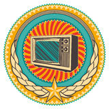 Emblem with old tv. Royalty Free Stock Image