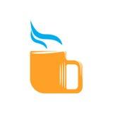 Emblem of orange mug with steam Royalty Free Stock Images