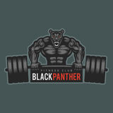 Emblem panther bodybuilder lifting barbell and growls Royalty Free Stock Photos