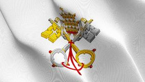 Emblem of Papacy flag waving on wind. royalty free stock images