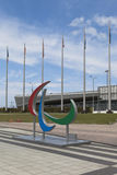 Emblem of the Paralympic Games on a background Tennis Academy in Sochi Olympic Park Stock Photo