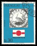 Emblem of PHILATOKYO exhibition. Paraguay - stamp 1981: Color edition on Heads of state, shows Emblem of PHILATOKYO exhibition Royalty Free Stock Photo