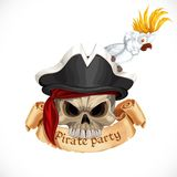 Emblem for pirate party with skull and parrot Royalty Free Stock Images