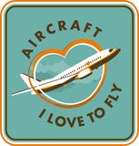 Emblem of the plane. Aircraft and air transportation vector labels.Logo templates,badges,emblems,signs graphic. Air voyage,tour,flight promotion and advertising Stock Images
