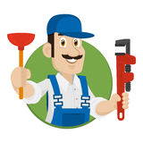 Emblem plumber in circle Stock Photography